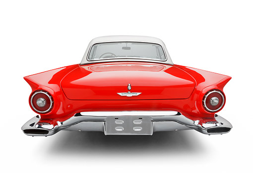 AUT 21 BK0123 01 © Kimball Stock 1957 Ford Thunderbird Red With White Top Rear View On White Seamless