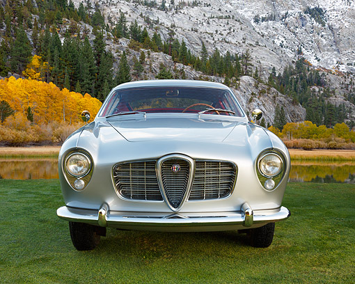 AUT 21 BK0131 01 © Kimball Stock 1954 Alfa Romeo 1900 CSS Ghia Silver Front View On Grass By Mountain