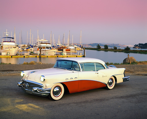 AUT 21 RK0315 02 © Kimball Stock 1956 Buick Special Red And White 3/4 Side View By Harbor