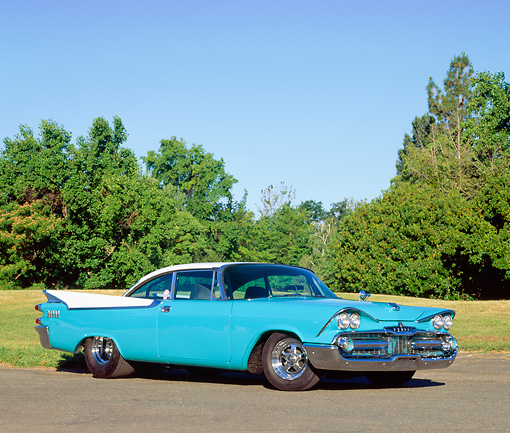AUT 21 RK0460 03 © Kimball Stock 1959 Dodge Coronet Turquoise 3/4 Front View On Pavement By Grass And Trees Blue Sky