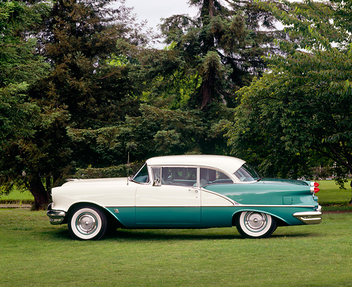 AUT 21 RK0529 01 © Kimball Stock 1956 Oldsmobile Super 88 Green & White profile on grass with trees in background