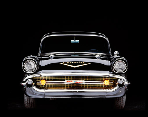 AUT 21 RK0568 04 © Kimball Stock 1957 Chevy Bel Air Black Head On Shot Parking Lights On Studio