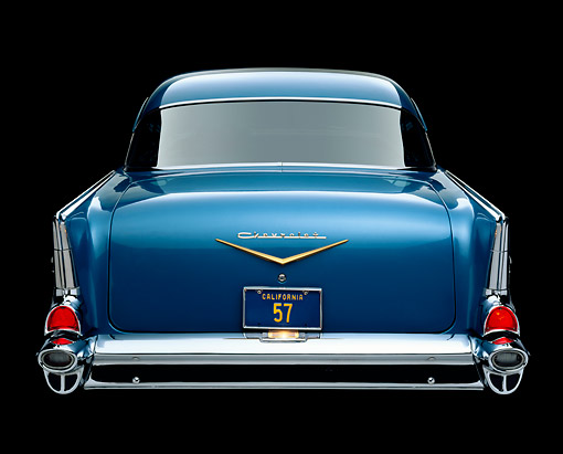 AUT 21 RK1153 04 © Kimball Stock 1957 Chevy Bel Air Blue Rear Shot Studio