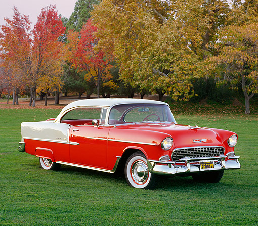 AUT 21 RK1559 04 © Kimball Stock 1955 Chevrolet Bel Air Red And White 3/4 Front View On Grass By Autumn Trees