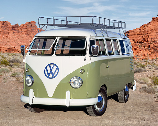 AUT 21 RK1640 03 © Kimball Stock 1959 VW Micro Bus Green And Gray 3/4 Front View On Dirt In Desert