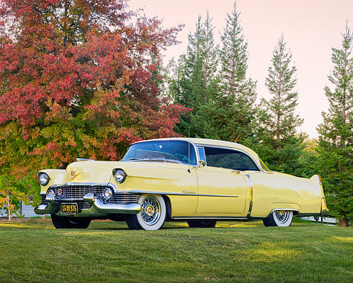 AUT 21 RK2313 01 © Kimball Stock 1954 Cadillac Coupe De Ville Yellow 3/4 Side View On Grass By Autumn Trees