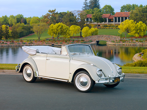 AUT 21 RK2403 01 © Kimball Stock 1958 Volkswagen Beetle Convertible White And Gray 3/4 Front View On Pavement By Pond
