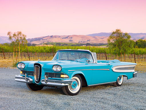 AUT 21 RK2441 01 © Kimball Stock 1958 Edsel Citation Convertible Turquoise 3/4 Front View On Gravel By Vineyard