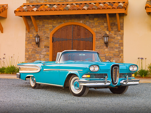 AUT 21 RK2449 01 © Kimball Stock 1958 Edsel Citation Convertible Turquoise 3/4 Front View On Gravel By Building