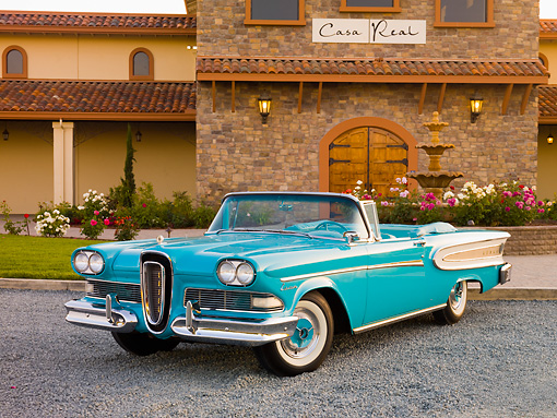 AUT 21 RK2451 01 © Kimball Stock 1958 Edsel Citation Convertible Turquoise 3/4 Front View On Gravel By Building