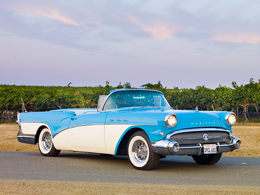 AUT 21 RK2564 01 © Kimball Stock 1957 Buick Special Convertible Turquoise And White 3/4 Front View On Pavement By Vineyard