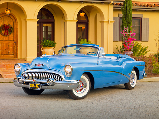 AUT 21 RK2619 01 © Kimball Stock 1953 Buick Skylark Convertible In Front Of House