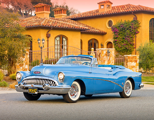 AUT 21 RK2620 01 © Kimball Stock 1953 Buick Skylark Convertible In Front Of House