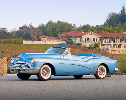 AUT 21 RK2621 01 © Kimball Stock 1953 Buick Skylark Convertible In Front Of House