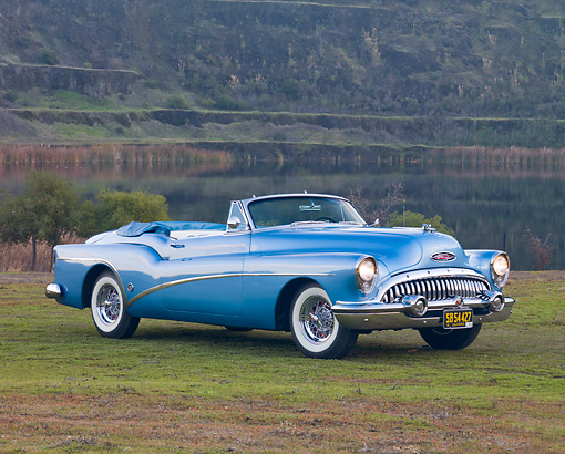 AUT 21 RK2622 01 © Kimball Stock 1953 Buick Skylark Convertible On Grass By Quarry