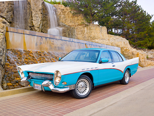 AUT 21 RK2634 01 © Kimball Stock Mercury Grand Marquis DeSoto Custom Blue And White 3/4 Front View On Pavement By Waterfall