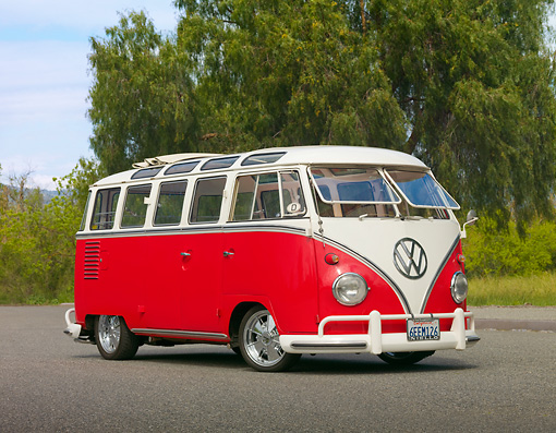 AUT 21 RK2685 01 © Kimball Stock 1959 Volkswagen 23 Window Microbus Raspberry And White 3/4 Front View On Pavement By Trees