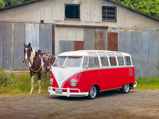 AUT 21 RK2693 01 © Kimball Stock 1959 Volkswagen 23 Window Microbus Raspberry And White 3/4 Front View On Dirt Road By Barn And Horse