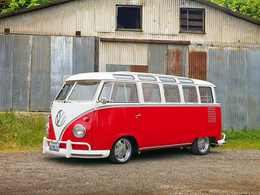 AUT 21 RK2694 01 © Kimball Stock 1959 Volkswagen 23 Window Microbus Raspberry And White 3/4 Side View On Dirt Road By Barn