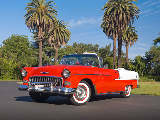 AUT 21 RK2706 01 © Kimball Stock 1955 Chevrolet Bel Air Convertible Red And White 3/4 Front View On Pavement By Palm Trees
