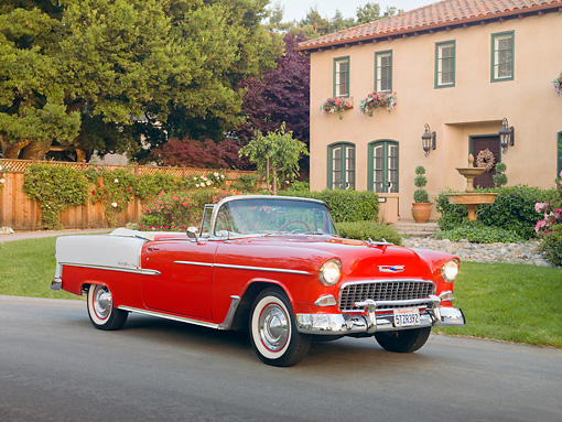 AUT 21 RK2712 01 © Kimball Stock 1955 Chevrolet Bel Air Convertible Red And  White 3