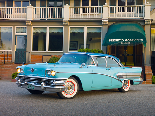 AUT 21 RK2746 01 © Kimball Stock 1958 Buick Special Turquoise 3/4 Front View On Pavement By Golf Club