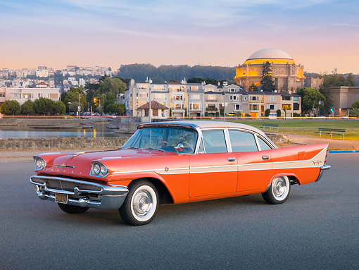 AUT 21 RK2782 01 © Kimball Stock 1958 DeSoto Fireflite Orange 3/4 Rear View On Pavement By Water