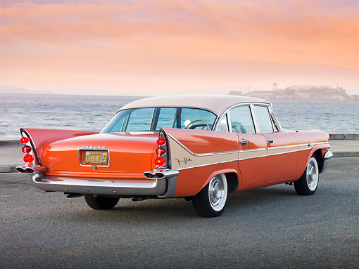 AUT 21 RK2787 01 © Kimball Stock 1958 DeSoto Fireflite Orange 3/4 Rear View On Pavement By Bay
