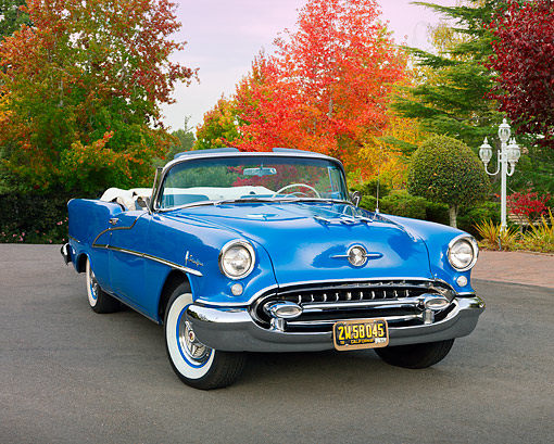 AUT 21 RK2789 01 © Kimball Stock 1955 Oldsmobile Ninety-Eight Blue 3/4 Front View On Pavement By Autumn Trees
