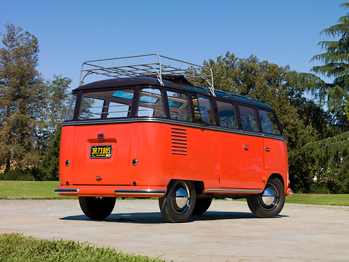 1955 Vw Barndoor Bus Red And Brown 34 Rear View On Pavement By