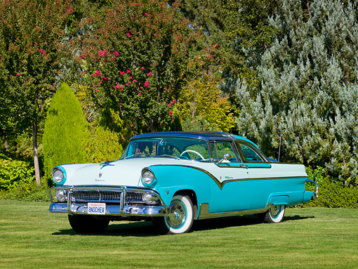AUT 21 RK2874 01 © Kimball Stock 1955 Ford Crown Victoria Aqua And White 3/4 Front View On Grass By Trees