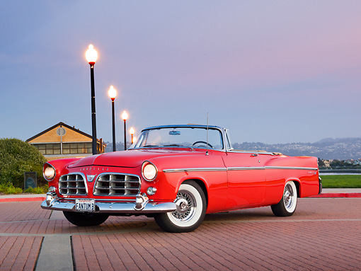 AUT 21 RK2891 01 © Kimball Stock 1956 Chrysler 300B Red 3/4 Front View On Brick By Lamp Posts At Dusk