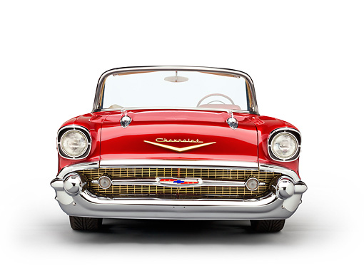 AUT 21 RK2952 01 © Kimball Stock 1957 Chevrolet Bel Air Convertible Red Front View On White Seamless