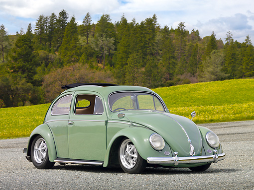 AUT 21 RK2969 01 © Kimball Stock 1956 Volkswagen Bug Agave Green 3/4 Front View On Gravel By Grass And Trees