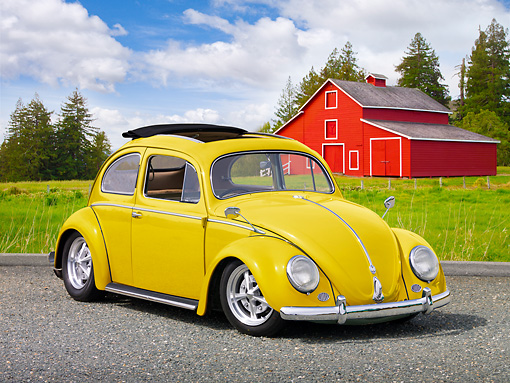 AUT 21 RK2970 01 © Kimball Stock 1956 Volkswagen Bug Yellow 3/4 Front View On Gravel By Grass And Red Barn