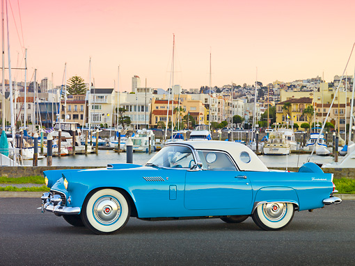 AUT 21 RK2989 01 © Kimball Stock 1956 Ford Thunderbird Blue Profile View On Pavement By Marina