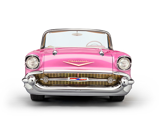 AUT 21 RK3017 01 © Kimball Stock 1957 Chevrolet Bel Air Convertible Pink Front View On White Seamless