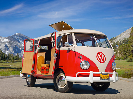 AUT 21 RK3034 01 © Kimball Stock 1959 VW SO23 Westfalia Camper Red And Beige Gray 3/4 Front View On Pavement By Mountains