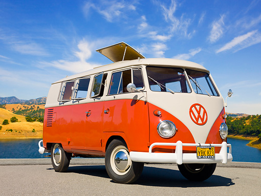 AUT 21 RK3037 01 © Kimball Stock 1959 VW SO23 Westfalia Camper Red And Beige Gray 3/4 Front View On Pavement By Lake