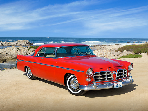 AUT 21 RK3074 01 © Kimball Stock 1956 Chrysler 300B Red 3/4 Front View On Beach