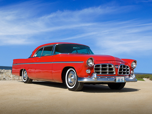 AUT 21 RK3078 01 © Kimball Stock 1956 Chrysler 300B Red 3/4 Front View On Beach