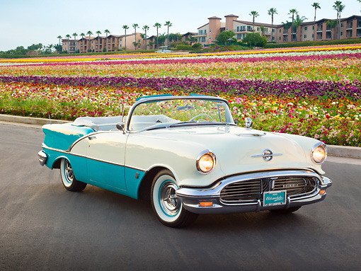AUT 21 RK3094 01 © Kimball Stock 1956 Oldsmobile Super 88 Teal And White 3/4 Front View On Pavement By Flowers