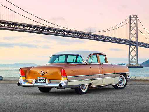 AUT 21 RK3138 01 © Kimball Stock 1958 Packard Patrician Bronze 3/4 Rear View On Pavement By Bay Bridge