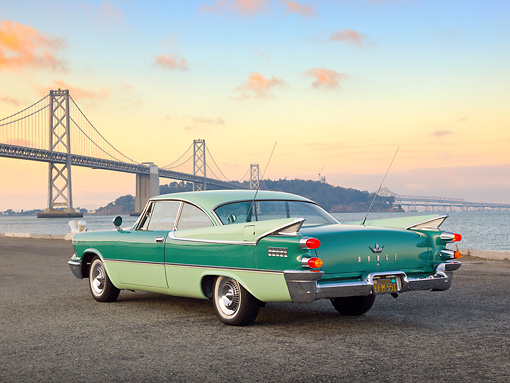 AUT 21 RK3149 01 © Kimball Stock 1959 Dodge Coronet Green 3/4 Rear View On Pavement By Bay Bridge