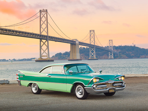 AUT 21 RK3151 01 © Kimball Stock 1959 Dodge Coronet Green 3/4 Front View On Pavement By Bay Bridge