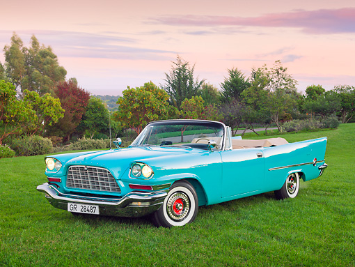 AUT 21 RK3154 01 © Kimball Stock 1957 Chrysler 300C Indian Turquoise 3/4 Front View On Grass By Trees