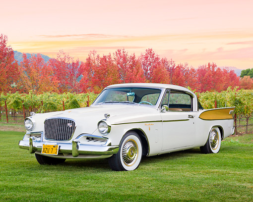 AUT 21 RK3191 01 © Kimball Stock 1957 Studebaker Golden Hawk White 3/4 Front View On Grass By Vineyard And Autumn Trees