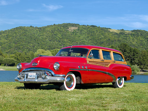AUT 21 RK3225 01 © Kimball Stock 1952 Buick Super Estate Wagon Red 3/4 Front View On Grass By Water