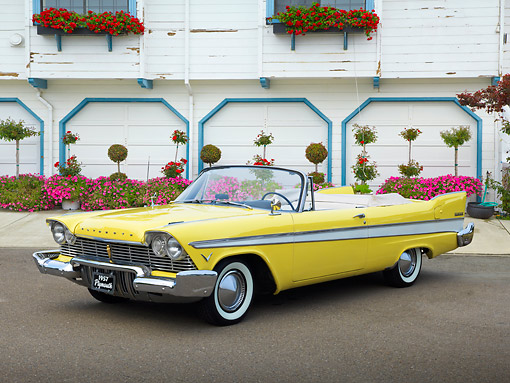 AUT 21 RK3227 01 © Kimball Stock 1957 Plymouth Belvedere Convertible Canary Yellow 3/4 Front View On Pavement By Building And Flowers