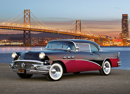 AUT 21 RK3269 01 © Kimball Stock 1956 Buick Special Black And Fuschia 3/4 Front View On Pavement By Bay Bridge At Night